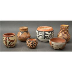 COLLECTION OF PUEBLO INDIAN POTTERY BOWLS AND VASE