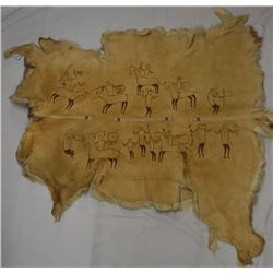PLAINS INDIAN PAINTED ELK HIDE