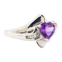 1.10 ctw Amethyst and Diamond Ring - 14KT White Gold