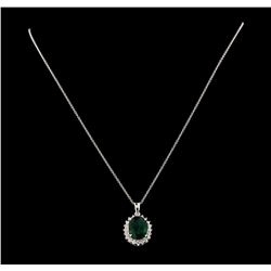 5.01 ctw Emerald and Diamond Pendant With Chain - 14KT White Gold