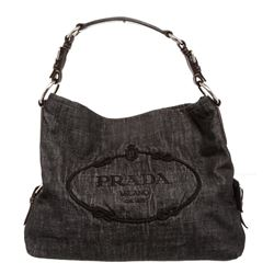 Prada Dark Gray Denim Canvas Embroidered Shoulder Bag