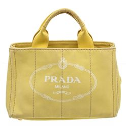 Prada YellowCanvas Small Canapa Tote Bag