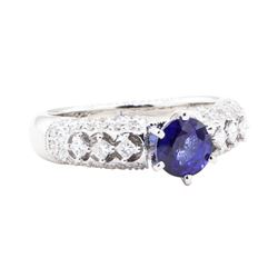 1.90 ctw Sapphire And Diamond Ring - 18KT White Gold