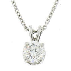 14k White Gold 0.55 ctw Round F SI1 Diamond Solitaire Pendant w/ Cable Chain