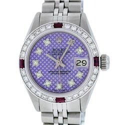 Rolex Ladies Stainless Steel Purple Stamp Diamond & Ruby Datejust Wristwatch