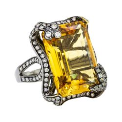 32.00 ctw Citrine And Diamond Ring - 18KT Black Rhodium Gold