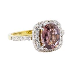2.64 ctw Pink Sapphire and Diamond Ring - 18KT Yellow Gold