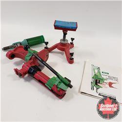 Box Lot: Reloading Press, Shooting Stand, Powder Dispenser