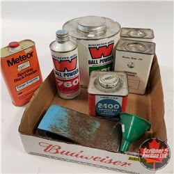 Tray Lot: Variety of partially used Gun Powder tins & Axe Head & Funnel