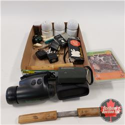 Tray Lot: Bushnell Night Vision Spotting Scope, Yardage Pro Range Finder, Insulators, Elk Call, Vari