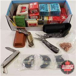 Box Lot: Variety of Bullets, Primers, Gerber Multi Tool, Knives
