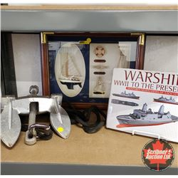 Nautical Theme : Shadow Box, Anchor & WWII Warships Book