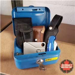 Blue Metal Case w/ Credit Card Knife, 2 Jack Knives, Belt Knife Holders