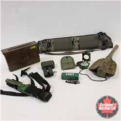 Military Group: Zambezi Knife, Binoculars, Compass, Ammo Box, Gun Scabbard, Shovel