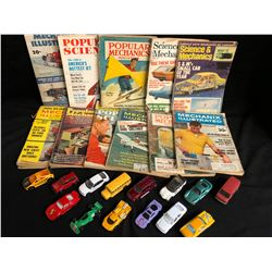 COLLECTIBLE VINTAGE MAGAZINES/ TOY CARS LOT