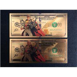 Stan Lee Colorful Gold Foil One Million Banknotes Paper Money Souvenir