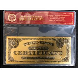 CERTIFICATE OF AUTHENTICITY GOLD BANKNOTE (1000 DOLLARS)