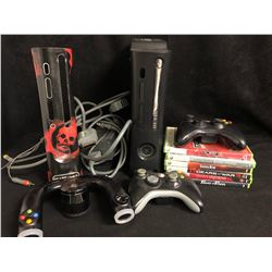 XBOX 360 VIDEO GAME SYSTEM W/ CONTROLLERS & GAMES
