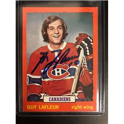 GUY LAFLEUR SIGNED VINTAGE CANADIENS HOCKEY CARD