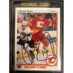 THEO FLEURY SIGNED 1990-91 UPPER DECK HOCKEY CARD