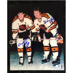 MARIO LEMIEUX & WAYNE GRETZKY DUAL SIGNED 8X10 PHOTO (GLOBAL AUTHENTICS COA)