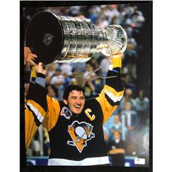 MARIO LEMIEUX SIGNED STANLEY CUP CHAMP 11X14 SIGNED PHOTO (GLOBAL AUTHENTICS COA)