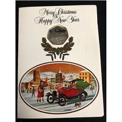 """1983 THE ISLE OF MAN""""S FOURTH CHRISTMAS DOUBLE CROWN (MERRY CHRISTMAS & HAPPY NEW YEAR COIN)"""