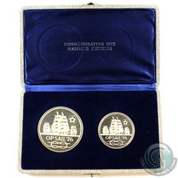 Operation Sail '76 USA & Canada 2-coin Sterling Silver Commemorating Our Maritime Heritage Set. The