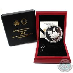 2014 Canada $50 Maple Leaves 5oz Fine Silver Coin (Black inside casing is cracked & capsule is scrat