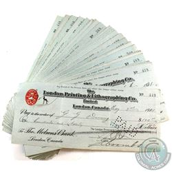 Estate lot of London, Canada Cancelled Cheques from 1921 - London Printing & Lithographing Co. Lmt.