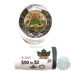 2019 Canada $2 Special Wrapped D-Day Coloured Roll of 25pcs.