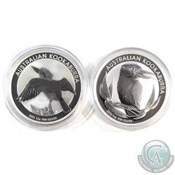2011 & 2012 Australia 1oz Kookaburra Fine Silver Coins in Capsules (2011 coin toned, 2012 coin light