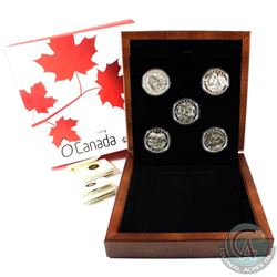 2013 O Canada $25 5-Coin Fine Silver Set in Deluxe Wooden Box (COA for Caribou coin missing). (TAX E