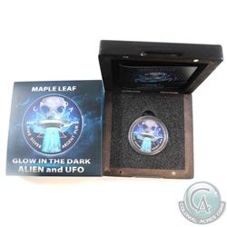 2018 Canada $5 Glow in the Dark Alien and UFO 1oz Ruthenium Plated & Coloured Fine Silver Maple. Com