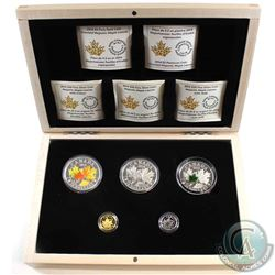 2014 Canada $5 & $20 Majestic Maple Leaves 5-coin Fine Silver Set in Deluxe Display Box. Includes th