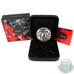 2019 Tuvalu $5 Dragon & Phoenix 5oz Antiqued Fine Silver Coin. #304 of only 388 minted! (TAX Exempt)