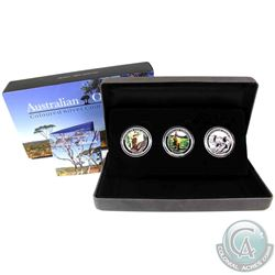 2014 Australia 50-cent 1/2oz Fine Silver Coloured 3-coin Set Featuring the Koala, Kangaroo & Kookabu