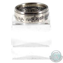 1966 Canada Silver 50ct Coin Custom Jewellery Ring Size 10 - Made from a real 50-cent coin!