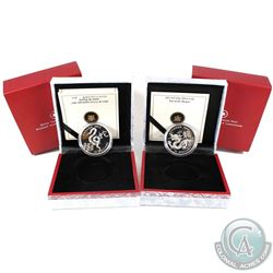 2012 & 2013 Canada Zodiac Fine Silver Coins - 2012 Year of the Dragon & 2013 Year of the Snake (2013
