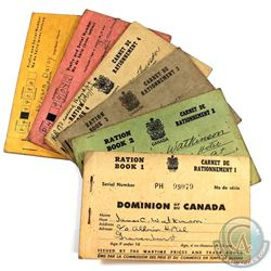 Estate Lot of Canadian Partly Used Ration Books. You will receive ration books 1 through 6.