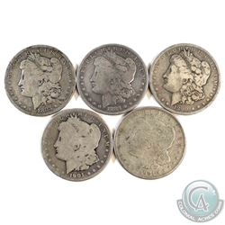 Lot of 5x USA Morgan Silver Dollars Dated 1883, 1884, 1890, 1901 & 1921. 5pcs