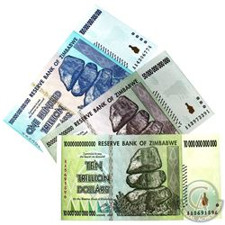 Lot of 2008 Zimbabwe Uncirculated Hyperinflationary Banknotes. You will receive 10 trillion, 50 tril