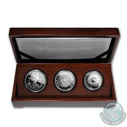 2012 Canada, Australia & Great Britain The Queen's Diamond Jubilee Royal Silver 3-coin Set in Deluxe