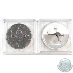 2013 Canada 1oz Maple Leaf & 2013 Australia 1oz Kangaroo in Outback F15 Privy Fine Silver Coins (Cap