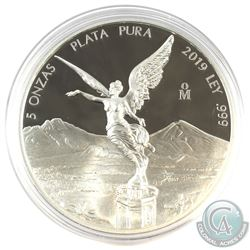 2013 Mexico 5oz .999 Fine Silver Libertad in Capsule (Capsule lightly scuffed on back). (TAX Exempt)
