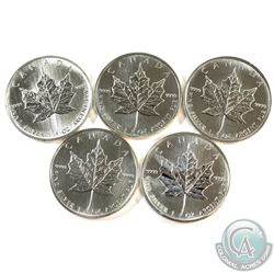 1989, 1999, 2001, 2006 & 2007 Canada 1oz .9999 Fine Silver Maple Leafs (Coins may have toning). 5pcs