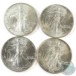 1986, 1989, 1994 & 1996 USA 1oz .999 Fine Silver Eagles. 4pcs (TAX Exempt)