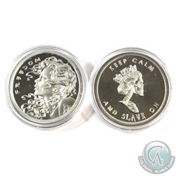 "2013  Silver Shield 1oz ""Keep Calm and Slave On"" & ""Freedom Girl"" .999 Fine Silver Proof Co"
