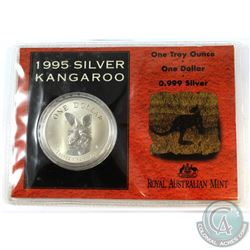 1995 Royal Australian Mint 1oz .999 Fine Silver Kangaroo in Cardboard Holder with Plastic Sleeve. (T