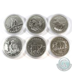 2011-2013 Canada Wildlife Series 1oz .9999 Fine Silver Coins - 2011 Wolf, 2011 Grizzly, 2012 Cougar,